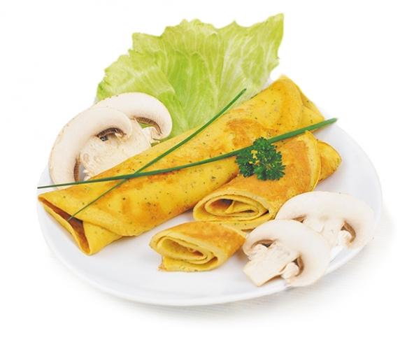 Omeleta se žampióny v prášku