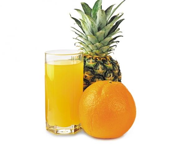 Nápoj s příchutí pomeranč-ananas v prášku, se sladidly